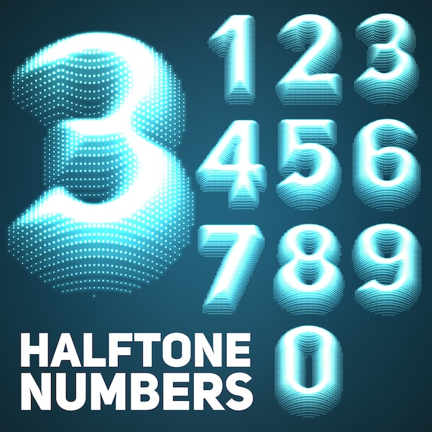 輝くハーフトーンエンボス数字のセット。 無料ベクター