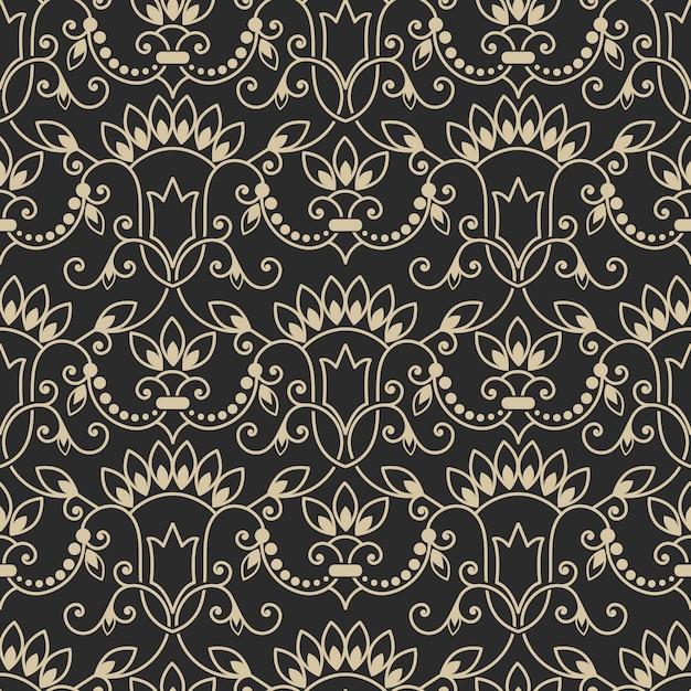 ダマスク織のシームレスなパターン背景。 無料ベクター