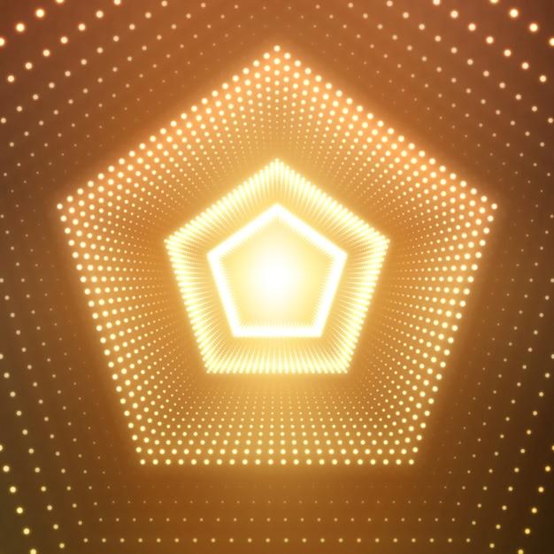 オレンジ色の背景に輝くフレアの無限五角形トンネル 無料ベクター