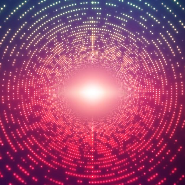 Бесконечный круглый туннель сияющих вспышек на фиолетовом фоне Бесплатные векторы