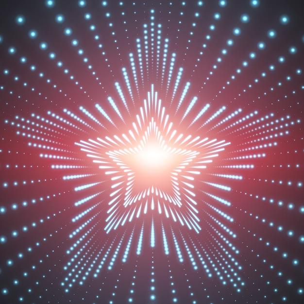 赤の背景に輝くフレアの無限の星のトンネル 無料ベクター