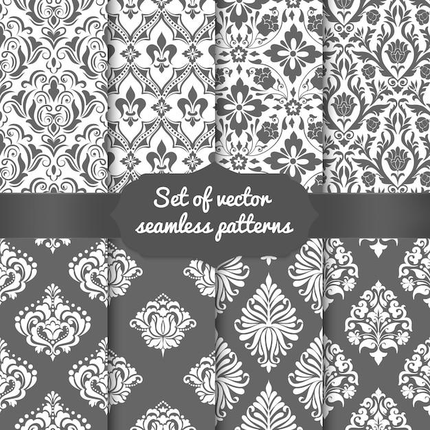 ダマスク織のシームレスなパターン要素のセット 無料ベクター