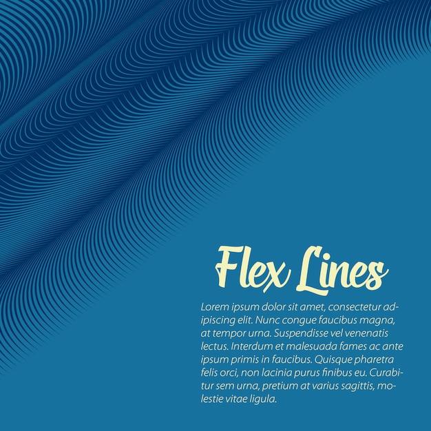 青い波線背景テンプレート 無料ベクター