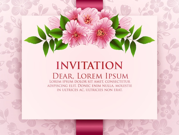 花の結婚式の招待カード 無料ベクター
