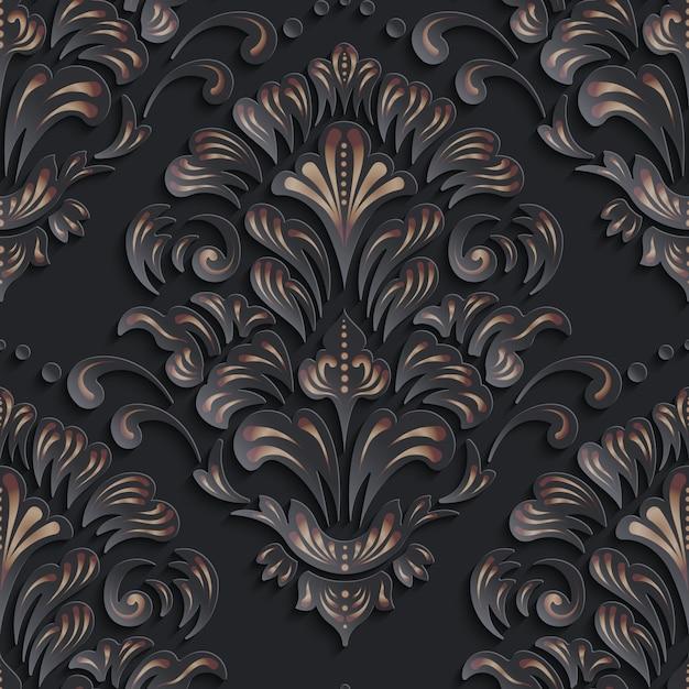 観賞用のダマスク織のシームレスパターン 無料ベクター