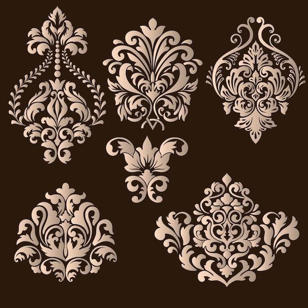 ダマスク織装飾要素のセット 無料ベクター