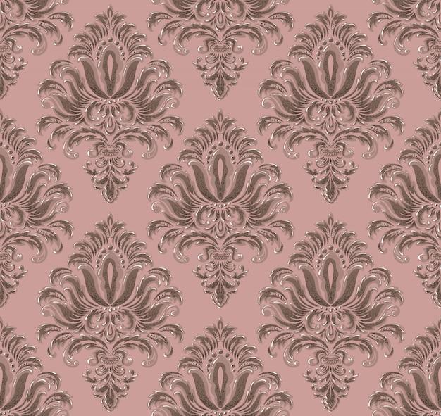 ダマスク織のシームレスなエンボスパターン背景。古典的な豪華な古いダマスク織の飾り、ロイヤルビクトリア朝のシームレスなテクスチャ。ヴィンテージの絶妙な花のバロックテンプレート。 無料ベクター