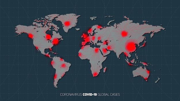Карта распространения коронавирусной пандемии по всему миру. предупреждение о глобальной вспышке вируса. вирусная структура на фоне планеты земля со звездами. международная инфекция. иллюстрации. Бесплатные векторы