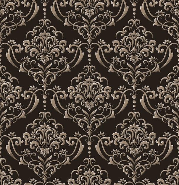 Дамаск бесшовные рельефный узор фона. урожай изысканный цветочный шаблон барокко. Бесплатные векторы