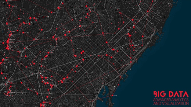 ビッグデータの抽象的な都市金融構造分析 無料ベクター