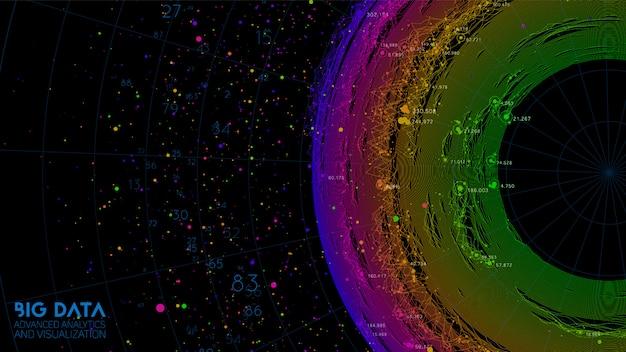 Абстрактные красочные круглые большие данные визуализации информации. социальная сеть, финансовый анализ сложных баз данных. визуальное уточнение сложности информации. сложная графика данных Бесплатные векторы