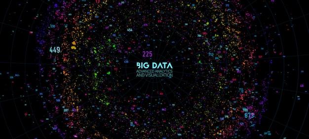 Визуализация больших данных. футуристическая инфографика. информационные облачные вычисления. визуальная сложность данных. комплексная бизнес-аналитика. представление в социальной сети. абстрактный граф данных. Бесплатные векторы
