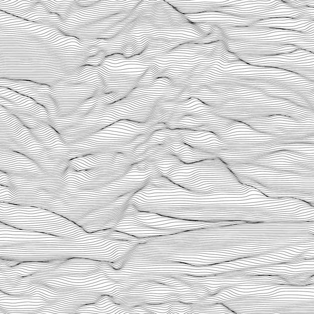 ストライプのグレースケールの背景。音波振動。 無料ベクター