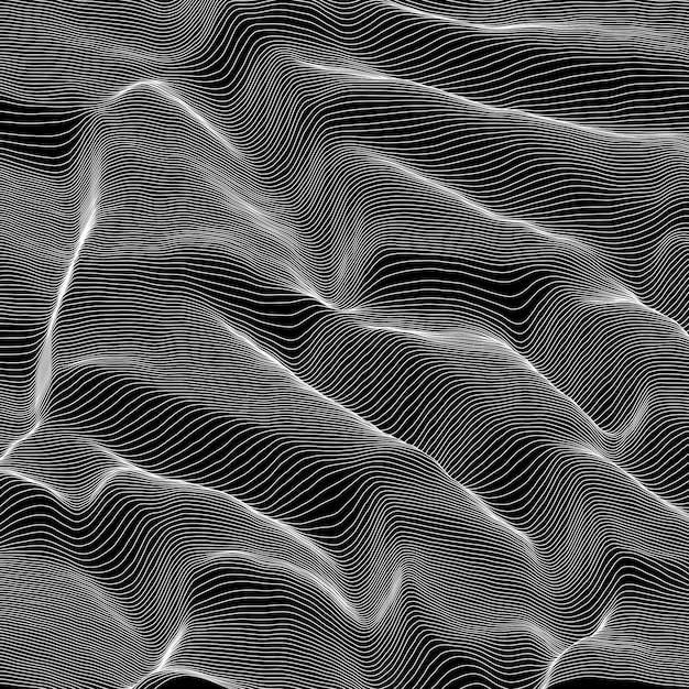 Вектор полосатый фон в оттенках серого. абстрактная линия волны. звуковые колебания. Бесплатные векторы
