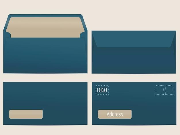 ベクターメール封筒。あなたのデザインのための空白の封筒。ベクトルエンベロープテンプレート。 無料ベクター