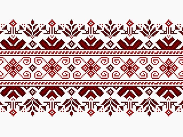Векторные иллюстрации украинского народного бесшовные узор орнамент. этнический орнамент. элемент границы. традиционная украинская, белорусская народная художественная трикотажная вышивка - вышыванка Бесплатные векторы