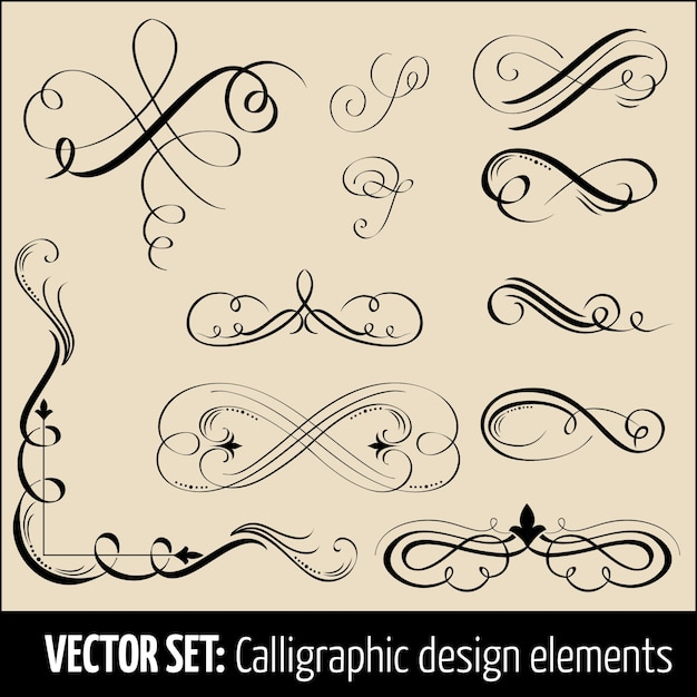 書道とページの装飾デザイン要素のベクトルセット。あなたのデザインのエレガントな要素。 無料ベクター