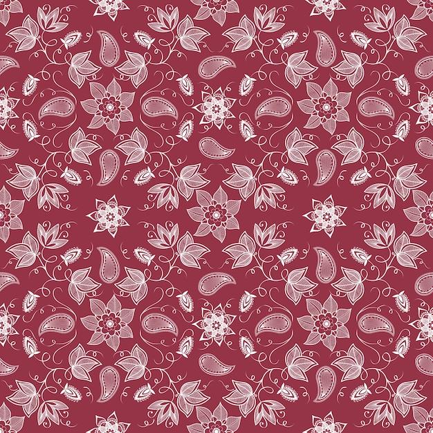 ベクトル花のシームレスなパターンの背景。背景のためのエレガントなテクスチャ。古典的な高級古風な花の飾り、壁紙、繊維、ラッピングのためのシームレスなテクスチャ。 無料ベクター