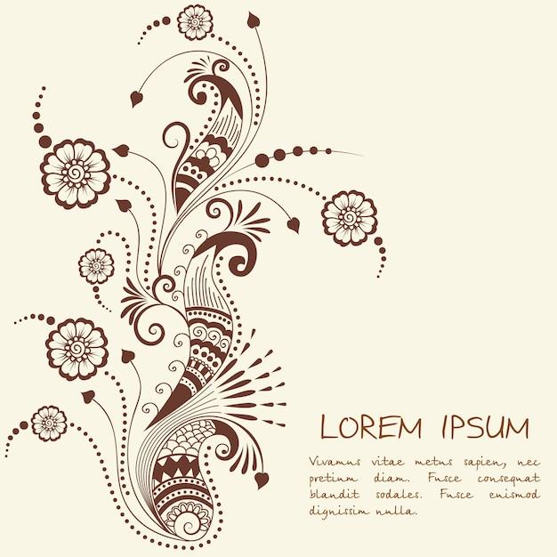 メーンディの装飾のベクトル図。伝統的なインディアンスタイル、ヘナのタトゥー、ステッカー、メッディとヨガのデザインのための装飾的な花の要素、カードとプリント。抽象的な花のベクトルのイラスト。 無料ベクター