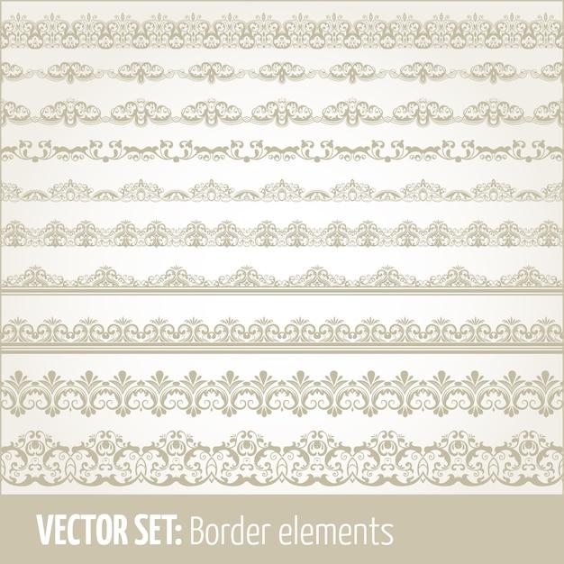 境界要素とページの装飾要素のベクトルセット。ボーダーの装飾要素のパターン。エスニックボーダーイラストベクトル。 無料ベクター