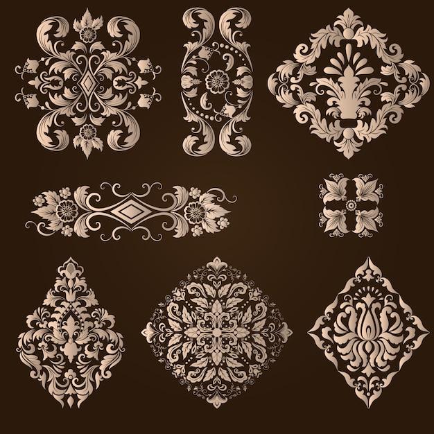 Векторный набор дамасской декоративных элементов. элегантные цветочные абстрактные элементы для дизайна. идеально подходит для приглашений, карточек и т. д. Бесплатные векторы