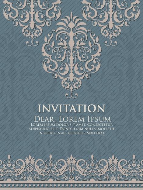 ビンテージの背景アートワークと結婚式の招待状とアナウンスカード 無料ベクター