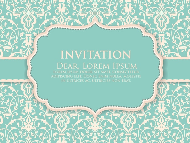 結婚式の招待状とビンテージの背景アートワークと発表カード。エレガントで華やかなダマスクの背景。エレガントな花の抽象的な飾り。デザインテンプレート。 無料ベクター