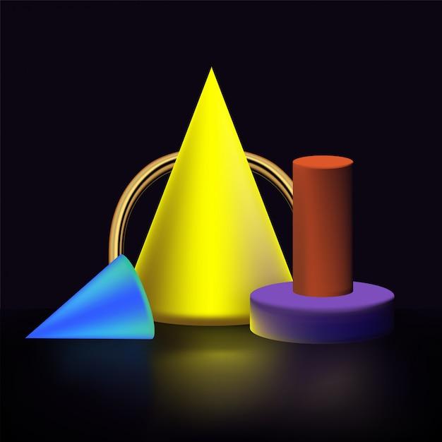 幾何学的形状および形状 Premiumベクター