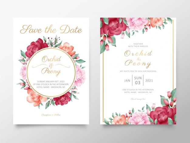 水彩のバラと牡丹の花で設定されたビンテージの結婚式の招待カードテンプレート Premiumベクター