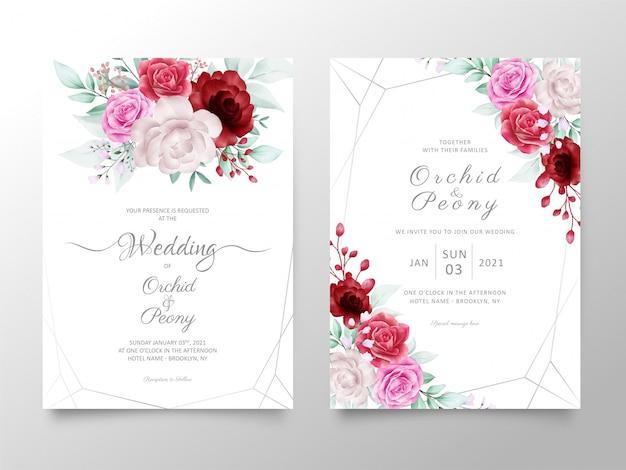 Свадебный шаблон приглашения с акварельными розами и цветами пионов Premium векторы