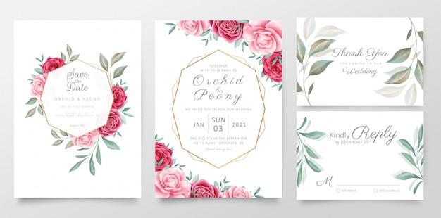 幾何学的な花のフレームで設定した結婚式の招待カードテンプレート Premiumベクター
