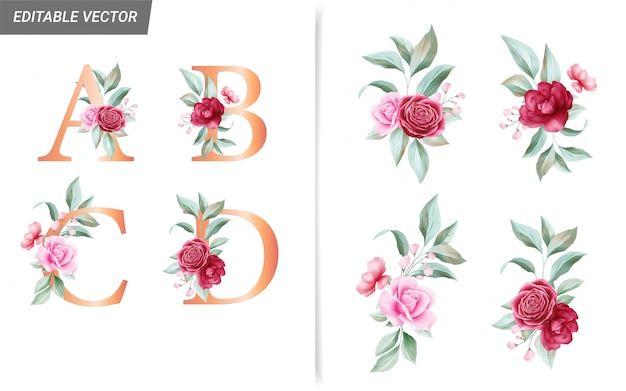 Цветочный алфавит с элементами декора букет цветов акварель Premium векторы