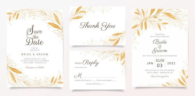 Золотая свадьба пригласительный билет шаблон с цветочным и блеском украшения. Premium векторы