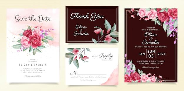 花の花束と境界線の花結婚式招待状カードテンプレートセット Premiumベクター