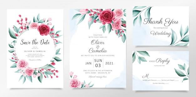 花の装飾で設定されたエレガントな水彩画の植物結婚式招待状カードのテンプレート。 Premiumベクター