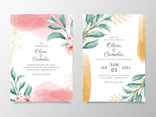 花の装飾とゴールドラメ入りエレガントな水彩結婚式招待状カードのテンプレート。 Premiumベクター