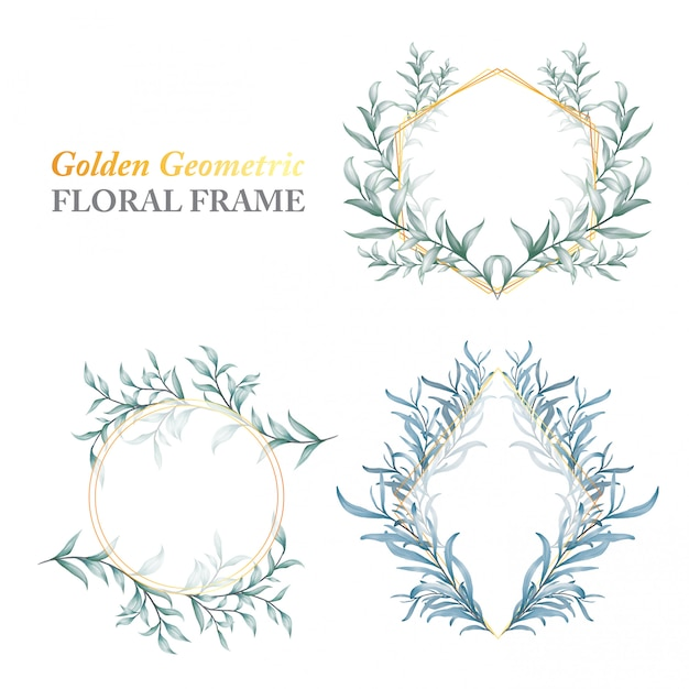 野生の葉の黄金の幾何学的な花のフレーム Premiumベクター