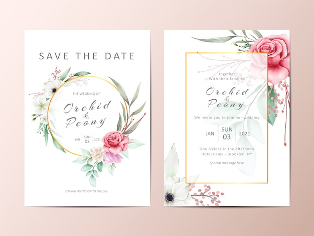 Красивый набор свадебных приглашений из красных роз и белых цветов анемона. Premium векторы