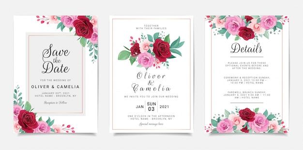 Свадебный пригласительный шаблон с цветами и золотым геометрическим декором Premium векторы