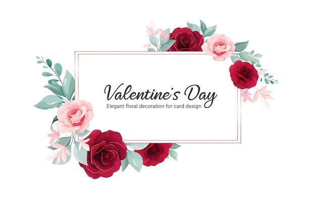 Валентина цветочная рамка. цветы украшение иллюстрация бордовый роз цветы, листья, ветки Premium векторы
