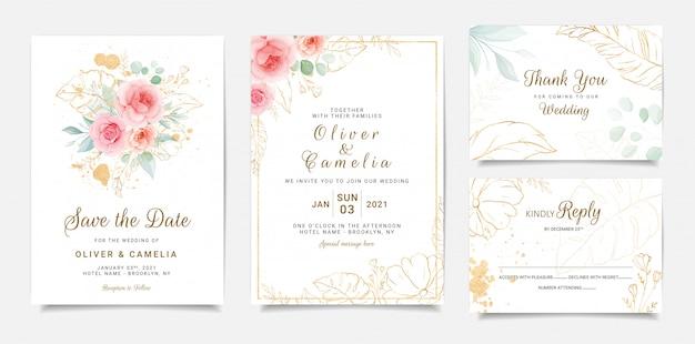 桃のバラの花と金の葉のエレガントな結婚式の招待状のテンプレートデザイン Premiumベクター