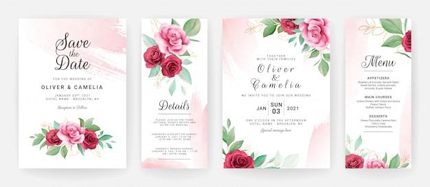 水彩花と赤面ブラシストロークで設定した結婚式の招待カードテンプレート Premiumベクター