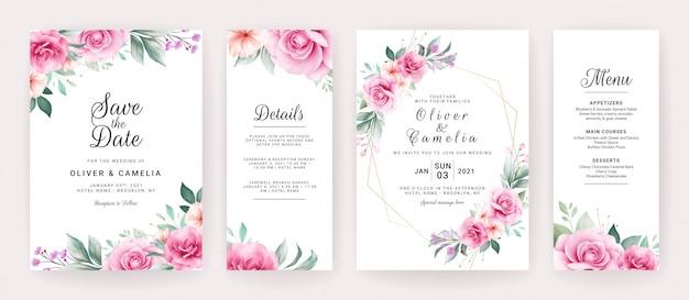 Шаблон приглашения свадебные карточки с акварелью цветочные композиции и границы. Premium векторы