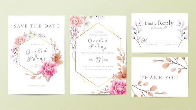 美しい結婚式の招待カードテンプレート Premiumベクター