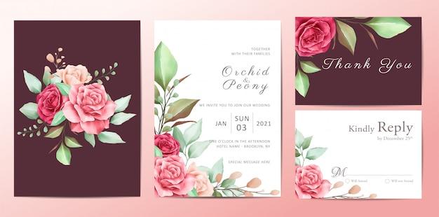 バラの花の美しい花の結婚式の招待状テンプレートセット Premiumベクター