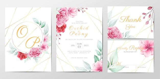現代の花の結婚式の招待カードテンプレートセット Premiumベクター
