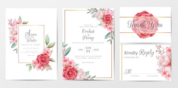 Старинные цветы свадебные приглашения набор шаблонов карточек Premium векторы