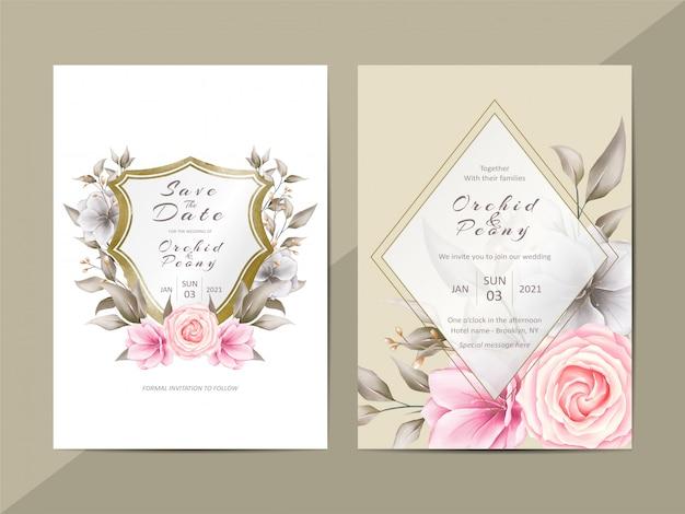 水彩花とクレストとエレガントな結婚式の招待状のテンプレート Premiumベクター