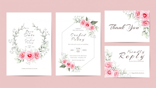 牡丹の花とエレガントな花の結婚式の招待状のテンプレートセット Premiumベクター