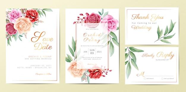 エレガントな黄金の花の結婚式の招待カードテンプレートセット Premiumベクター